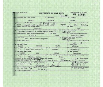 Obama Certificate of Live Birth Long Form