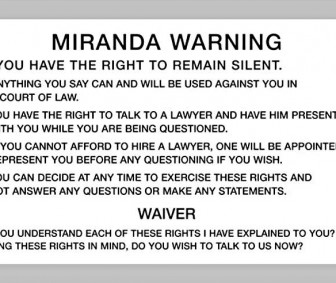 Miranda Rights Warning Card English